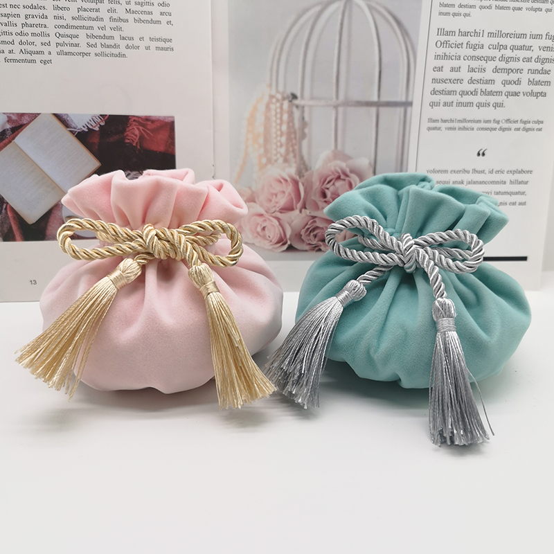 Light Blue Round Bottom With Gray Tassel Velvet Drawstring Bag 12x17cm MP3 Jewelry Packaging Pouch Bags Gift & Packing Bags