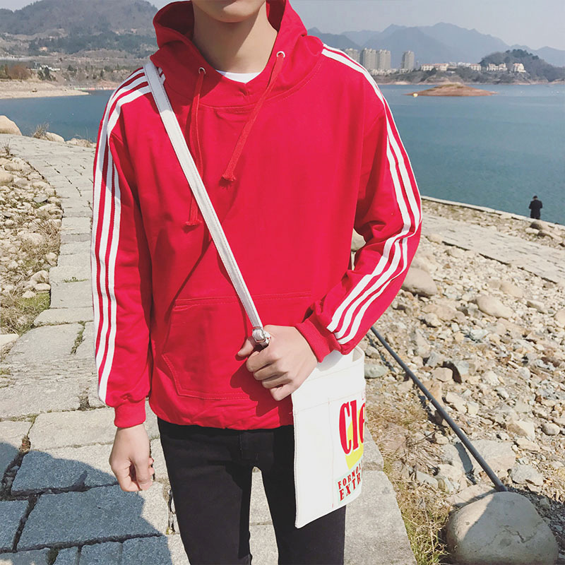 ZHIJING Autumn Hoodies Men's Long-Sleeved Sports Red Hoodie Sports Student Fashion Jacket