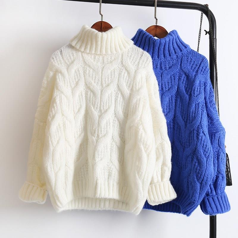 Female White Turtleneck Sweater Blue Yellow Thick Loose Short Sweater 2019 Warm Sweater Women Tops