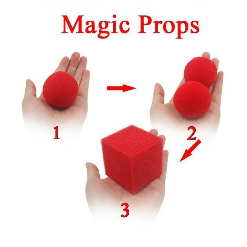 1Block 2 Sponge Balls Magic Props Close Up Street Classic Illusion Magic Tricks Red Magic Toys