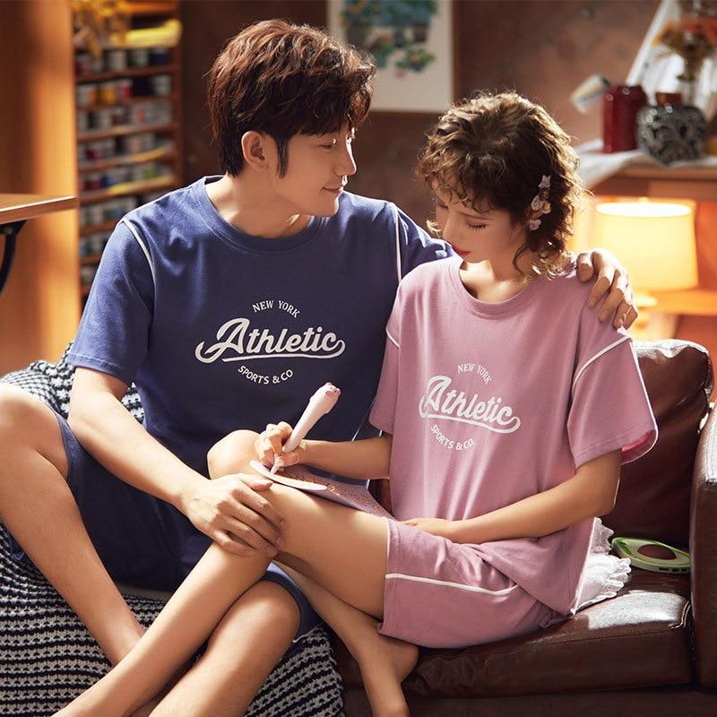 JULY'S SONG-Juego de pijamas para pareja, camiseta informal de retales de dibujos animados, pantalones cortos, ropa de dormir de algodón suave y cómodo para casa