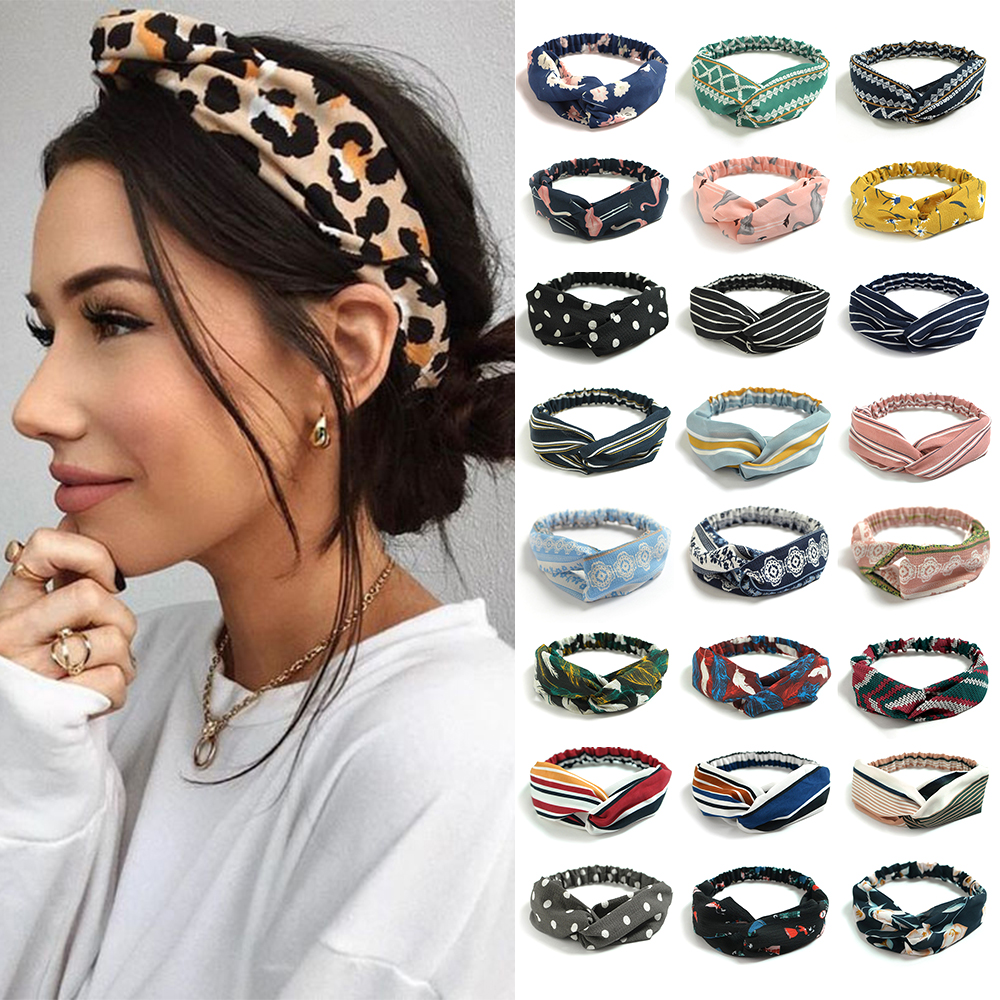 Fashion Bohemian Hairbands Print Headbands for Women Girls Retro Cross Knot Turban Bandanas Ladies Headwear Hair Accessories