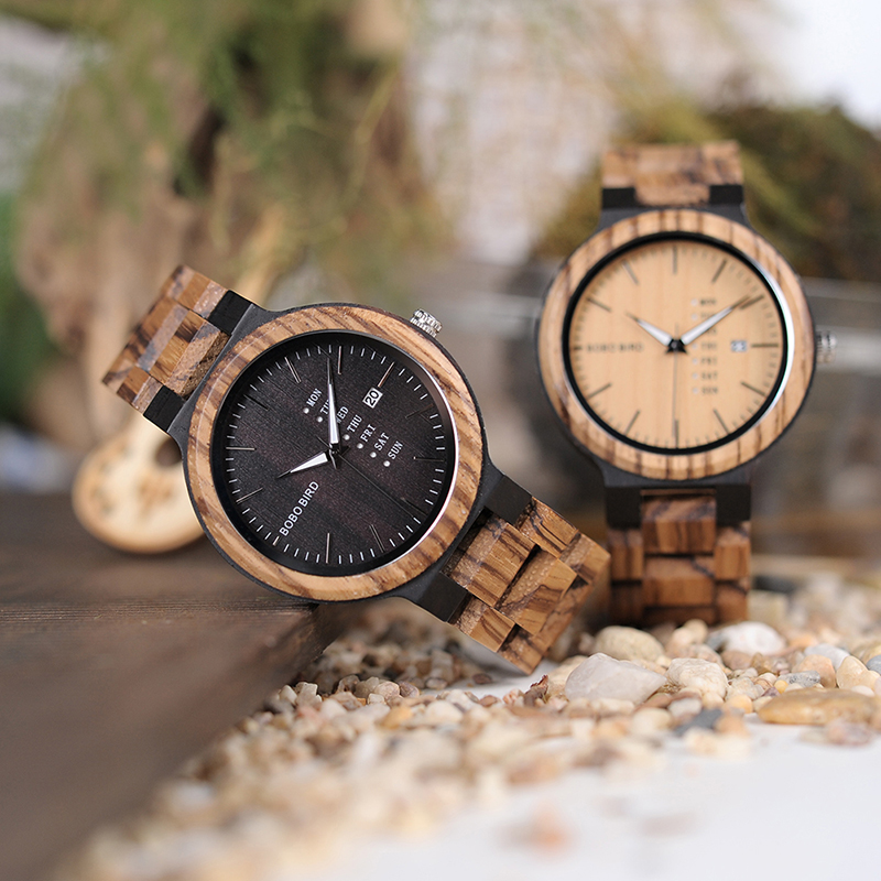 Relogio Masculino  BOBO BIRD Wood Men Watches Erkek Kol Saati Quartz Wristwatch Male Show Date And Week Timepieces In Boyfriend