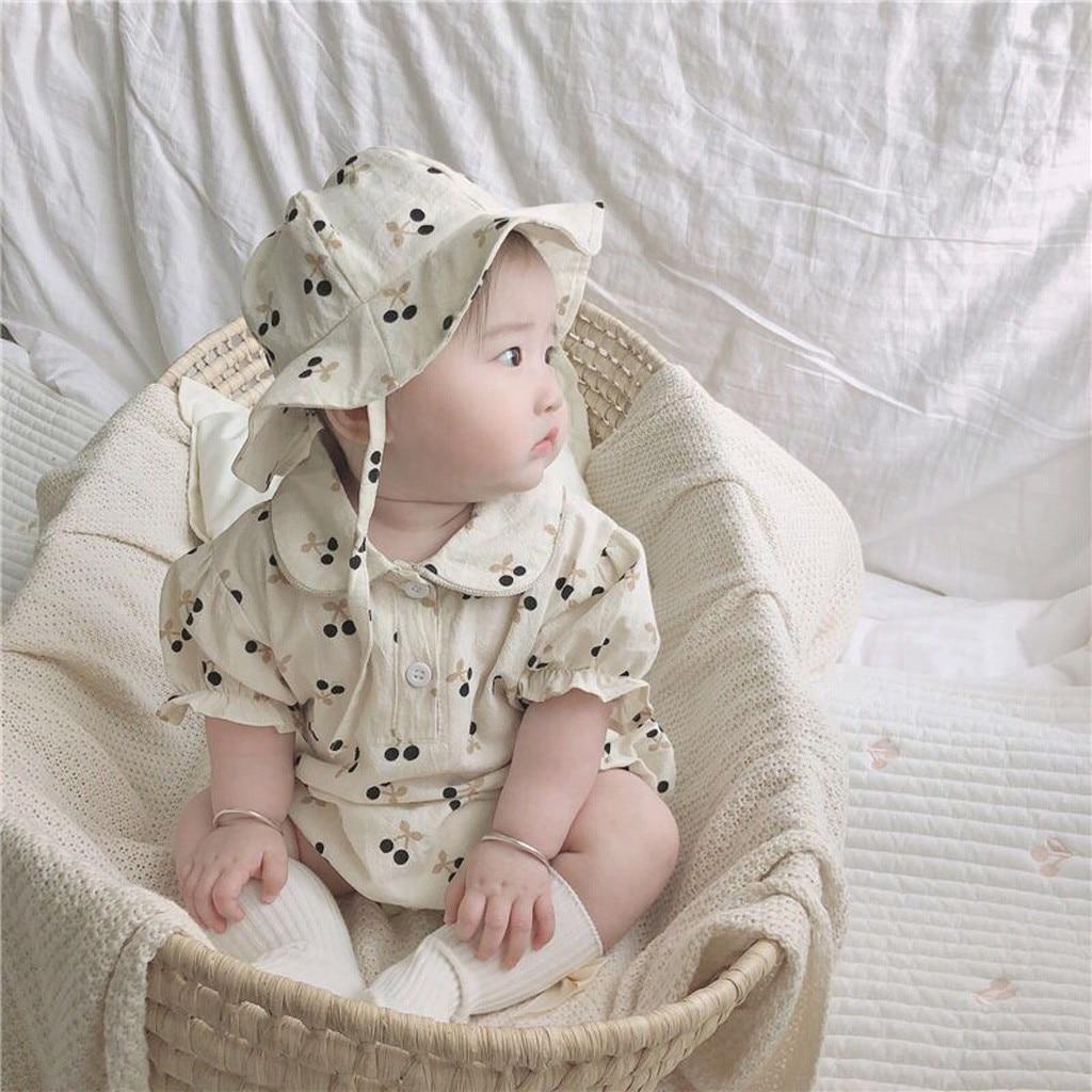Одежда для новорожденных; Для маленьких девочек и мальчиков милый короткий рукав с цветочным рисунком, стиль воротник-кукла, боди-комбинезо...