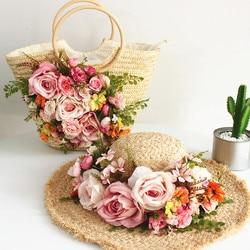 Summer Lady raffia Handmade flowers Straw Hats Women Beach Sun Hats+ Handbags Girls Holiday Knitting Weave Tote bag Panama