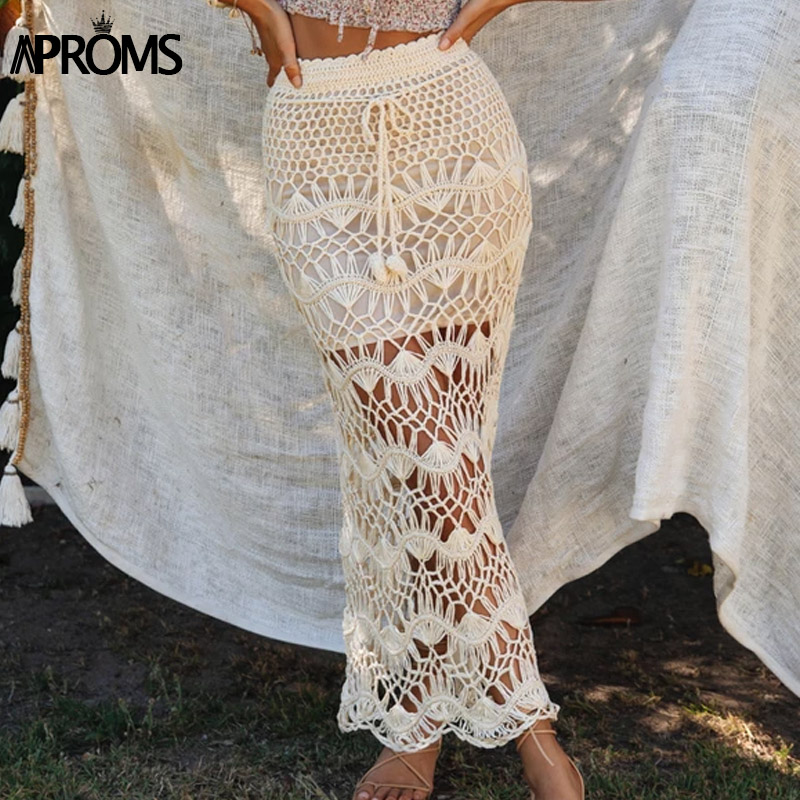 New Bohemia Crochet Kintted Long Maxi Skirt Women Vintage Cotton Hollow Out Skirts Ladies Summer Beach Pencil Skirts 2019