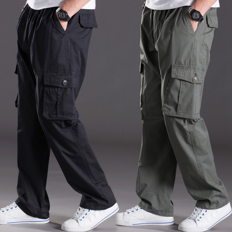 Spring Summer Casual Pants Male Big Size 6XL Multi Pocket Jeans Oversize Pants Overalls Elastic Waist Pants Plus Size Men