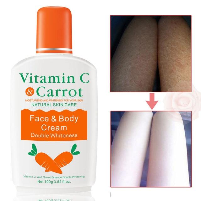 Vitamine C carotte blanchiment crème pour le corps du visage blanchiment de la peau Lotion hydratante pour le corps crème éclaircissante pour la peau