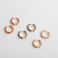 Luxurious enamel glaze studded colored earrings small ear circle multicolor