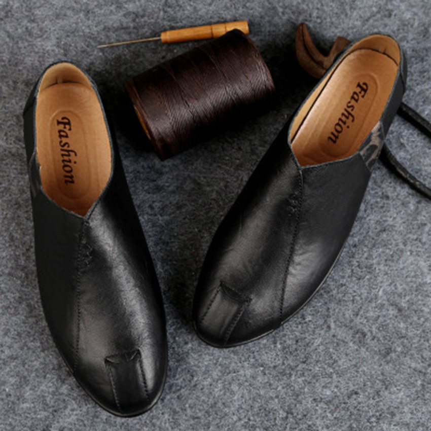 Solid Spring Autumm Casual Loafers Shoes for Men Classics Concise Light Flat Slip On Shoes Fashion Leisure Driving Shoes 36