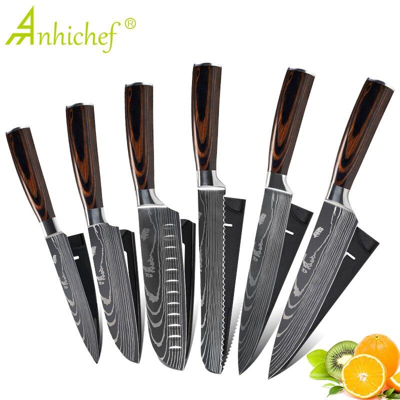 Ev ve Bahçe'ten Mutfak Bıçakları'de Mutfak bıçakları seti profesyonel şef bıçaklar paslanmaz çelik taklit şam desen Santoku Cleaver dilimleme yardımcı bıçaklar title=