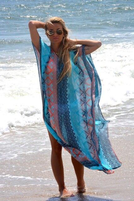 Women Boho Swimwear Kaftan Bikini Cover up V-neck Striped Patchwork Beach Maxi Dress Bathing Swimsuit 5