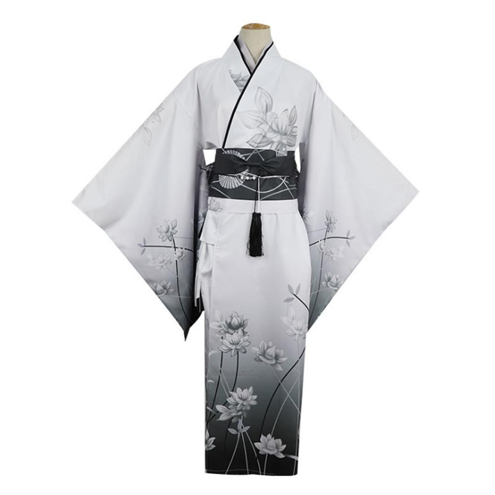 Yosuga No Sora Kasugano Sora Kimono Cosplay Costume Japanese Girl White Black Lotus Flower Print Yukata Dress