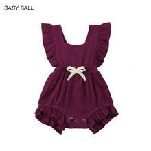 Newborn Baby Girls Ruche Plain Colour Terugkruisen Romper Jumpsuit Outfits Sunsuit Baby Clothing