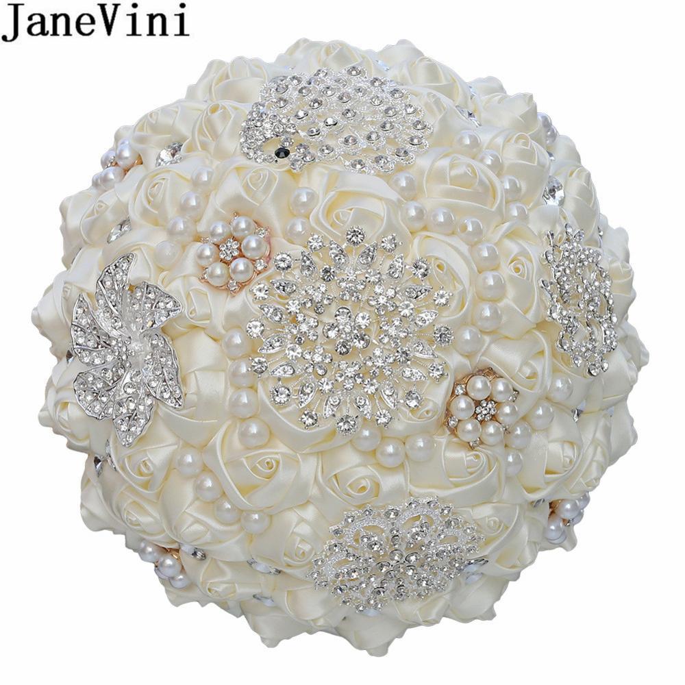 JaneVini Luxury Pearl Diamond Bride Flower Bouquet Wine Red Black Sparkly Rhinestones Crystal Bridal Roses Wedding Bouquets 2020