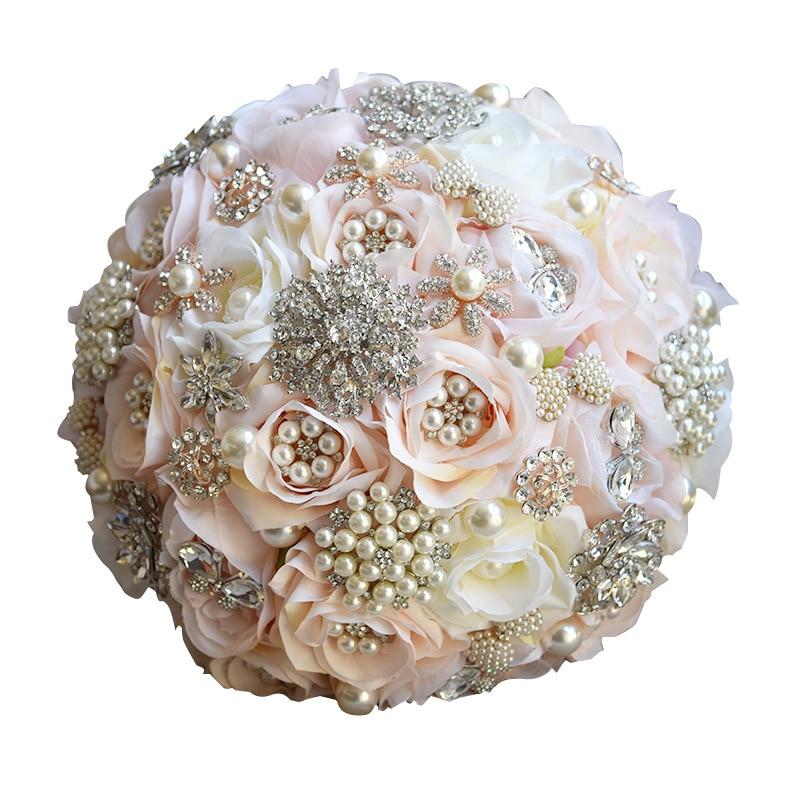 25 см для свадьбы искусственные цветы, шелковые стразы, цветы розы, растения, букет, украшение дома, роскошный подарок на день Святого Валенти... - 2