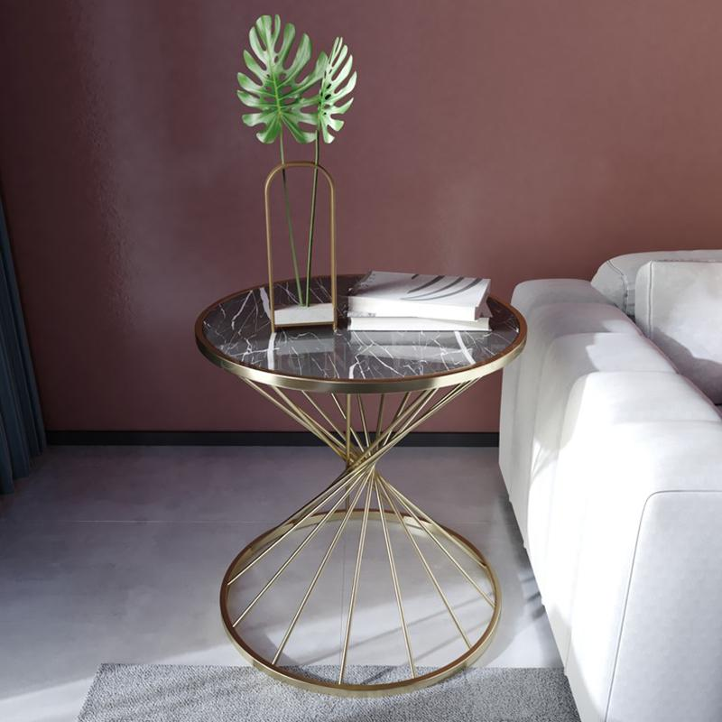 Nordic net red creative round small coffee table simple marble sofa side bedside table light luxury corner