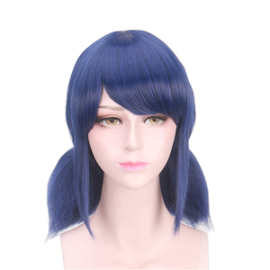 Ladybug Cosplay Wigs Dark Blue Double Ponytails Straight Cosplay Wig Halloween Heat Resistant Synthetic Hair(China)