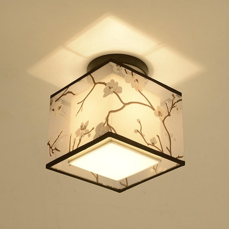 Классический японский светодиодный потолочный светильник винтажный Ретро подвесной светильник тканевый абажур поверхностное крепление китайский потолочный светильник-in Потолочные лампы from Лампы и освещение
