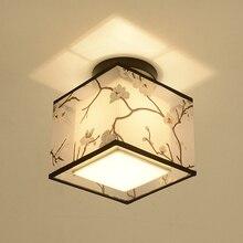 Klasyczna japońska lampa sufitowa Led Vintage Retro oprawa wisząca klosz z tkaniny montaż powierzchniowy chińskie oprawy oświetlenia sufitowego