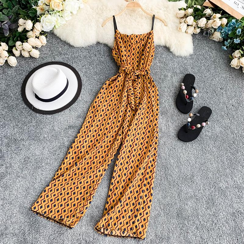 Bohemian V Neck Summer Spaghetti Strap Geometric Print Full Length Bandage Jumpsuit Chiffon Casual Women Beach Holiday Romper