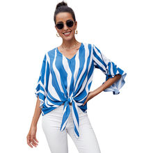 Модная женская новая весенне летняя полосатая рубашка в европейском
