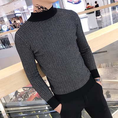 2019 Autumn And Winter New Men's Turtleneck Sweater Striped Slim Trend Elastic Pullover Shirt Men's Tight Mesh Red Sweater