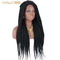Kalyss 28 inches braid wig for black women lace front synthetic hair wigs box braid wig baby hair women synthetic wigs faux locs