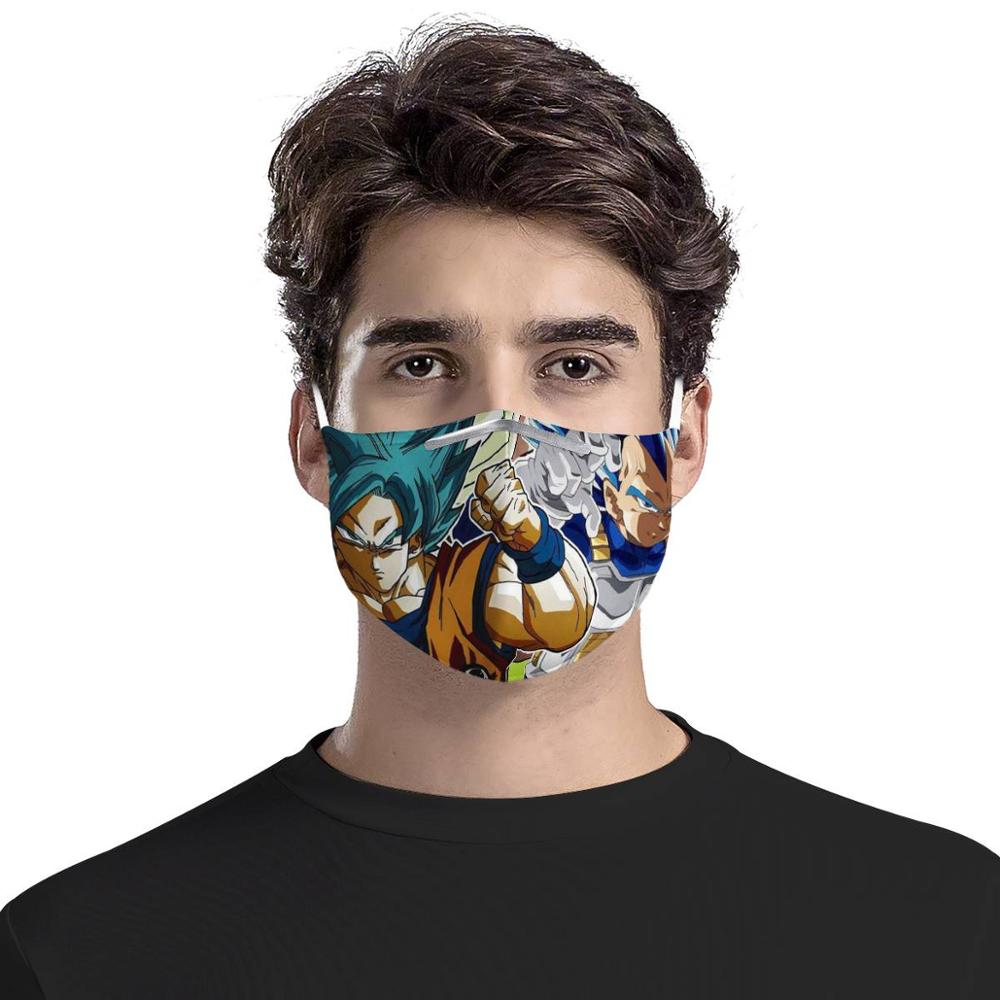 Dragon Ball 4Pcs Filter Gas Masks Carbon Insert Women Men Anti-dust Masks Washable Reusable Face Mask Non-disposable