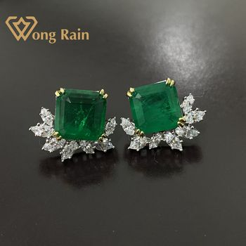 Wong Rain 925 Sterling Silver Created Moissanite Emerald Gemstone Wedding Engagement Ear Studs Earrings Fine Jewelry Wholesale