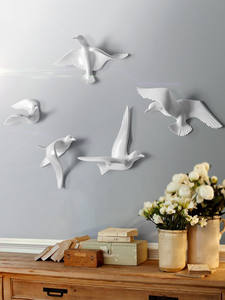 Wall-Sticker Tv-Background Birds Decoration Home Resin Pigeon-Crafts Ornament-Art Livingroom