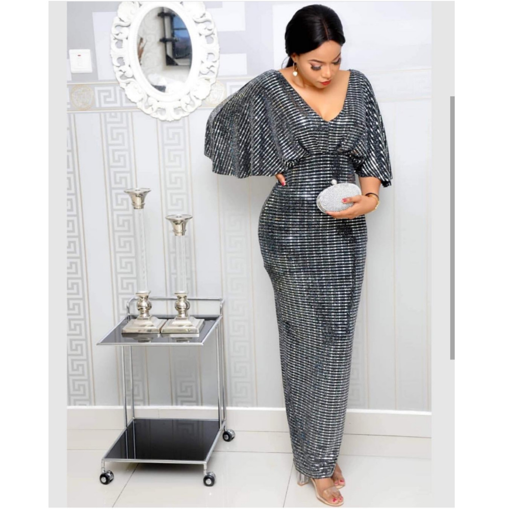 2019 New Arrival Elegent Fashion Style African Women Beauty Plus Size Long Dress M-XL