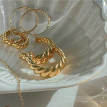 Pendientes de aro Croissant minimalistas para mujer, aros de oro de 18k y acero inoxidable de 316L, sin níquel ni plomo, delicado, FRANCÉS