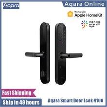 Aqara-cerradura de puerta inteligente N100, con huella digital, Bluetooth, contraseña, desbloqueo NFC, funciona con Mijia HomeKit, enlace inteligente con timbre, 2020