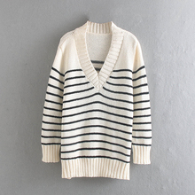 лучшая цена Stripe Pullover Long Sweater Autumn Winter Women Full Sleeve Knitted V-Neck Sweater Casual Slim Long Sleeve Outwear