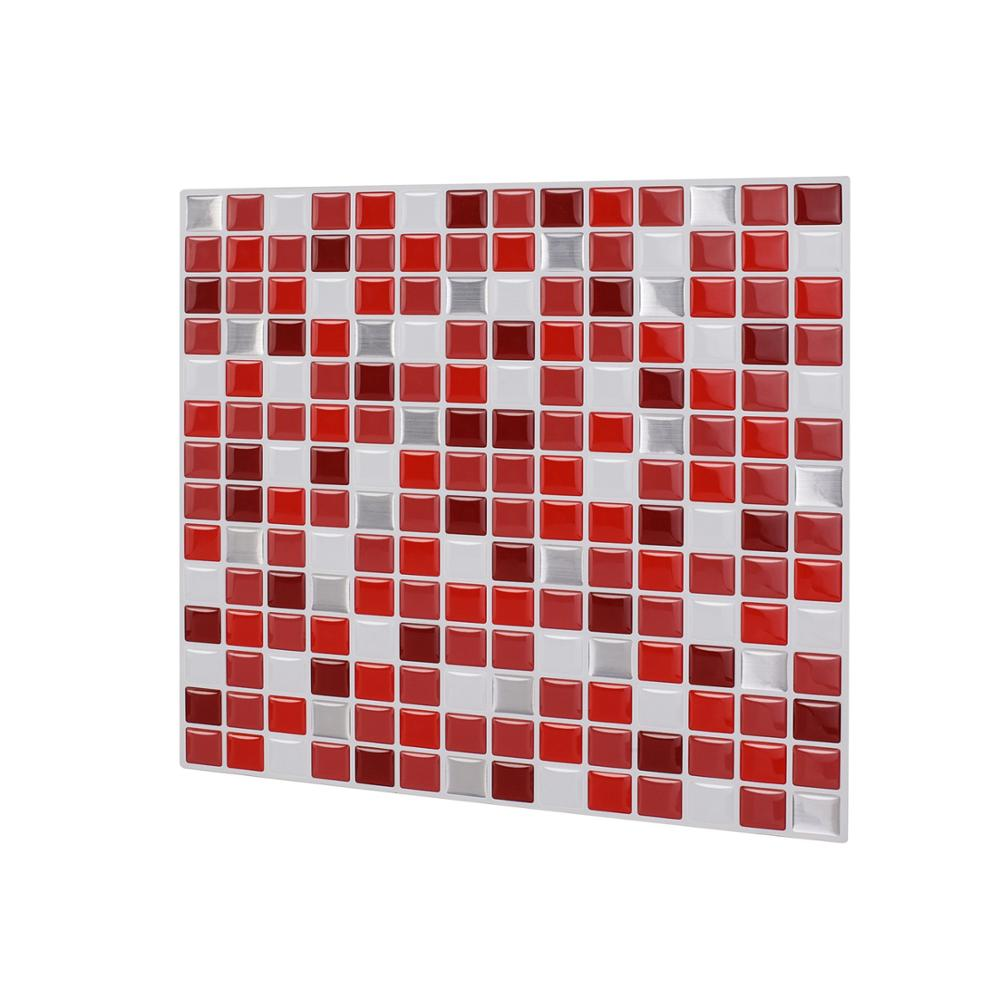 US $3 77 OFF Vividtiles 3D Effect Waterproof Vinyl Wallpaper 3D Peel And Stick Colorful Red Mosaic Wall Tiles Sticker 1 Sheet Wall Stickers