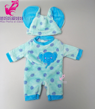 For 43cm  Babypoppen baby doll Blue and Pink elephant jumpsuit set girl flush outfit