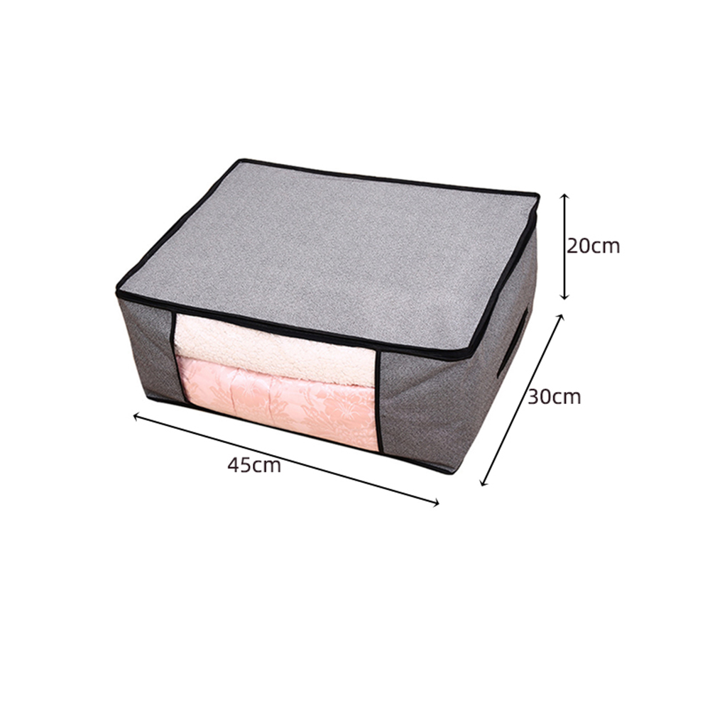 Non Woven Fabric Folding Storage Box Dirty Clothes Collecting Case With Zipper For Toys Quilt Storage Box Clear Window Organizer - Цвет: 45x30x20cm gray