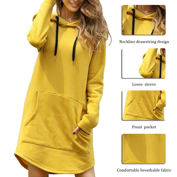 New Hoodie Women Dress Casual Hooded Pocket Long Sleeve Pullover  Sweatshirts Womens Fashion Autumn Winter Dropshipping