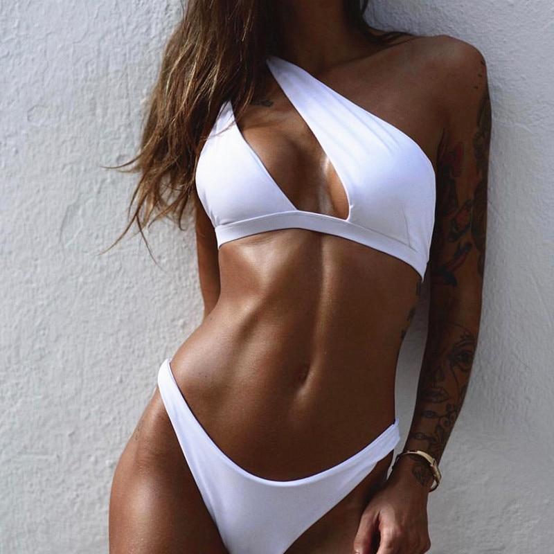 One Shoulder Bikini Set Padded Bikini Bra Top Low-waisted Panties Women Swimsuit Swimwear Suit YS-BUY 1