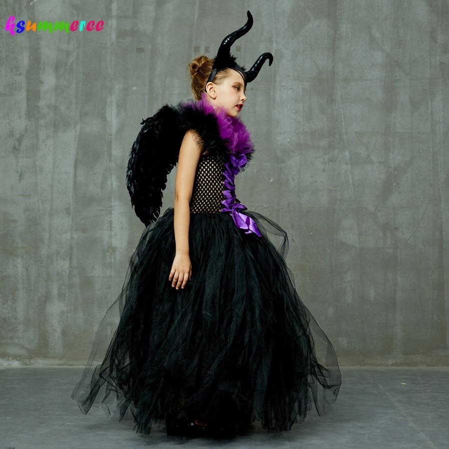 Kids Maleficent Evil Queen Girls Halloween Fancy Tutu Dress Costume Children Christening Dress Up Black Gown Villain Clothes 4
