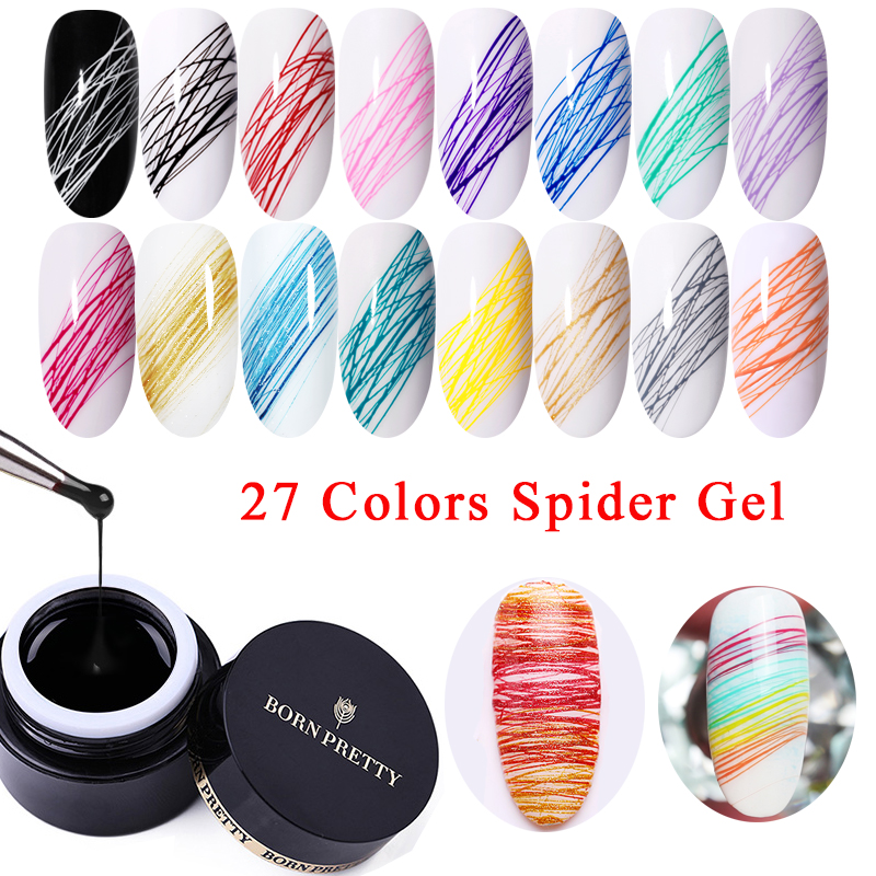 BORN PRETTY 5ml Nail Drawing Gel Polish Varnish Painting Nail Art Line Varnish Thick Elastic Paint UV Gel Soak Off Spider Gel