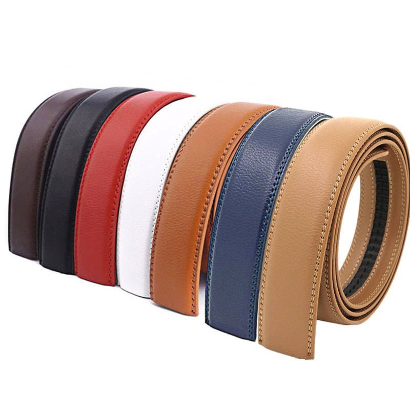 3.5cm 3.1cm Width Genuine Leather Belt No Buckle Designer Belts Men High Quality Leather Strap For Automatic Buckle