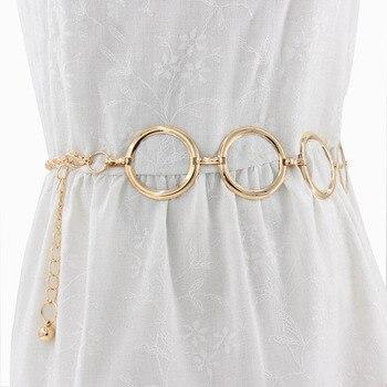Women Metal Belt Alloy Hook Up Buckle Belt Fashionable Elegant Golden Lady Waist Chain Dress Decorative Metal Belt women s fashionable collared short sleeved dacron dress w belt deep blue xl