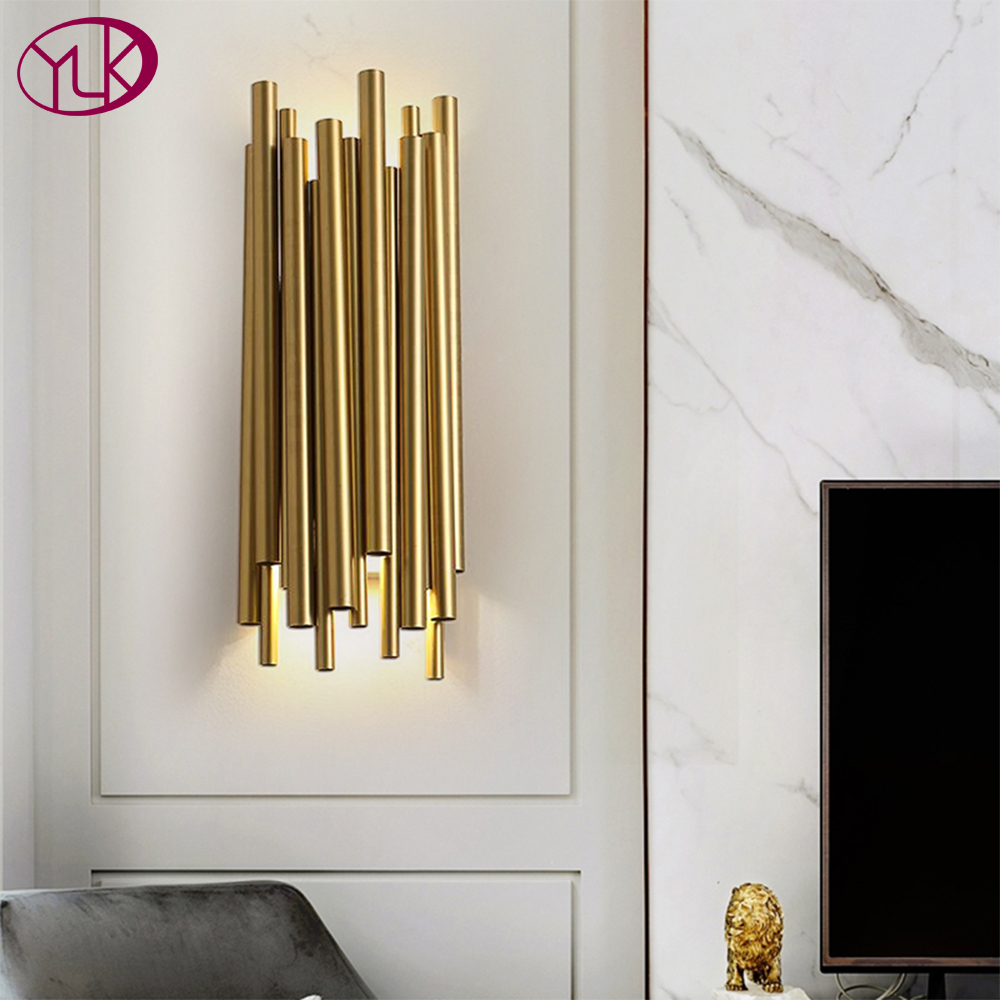 US $181.6 20% OFF|Youlaike Gold Wall Sconce Lighting Polished Steel  Luminaria Home Decoration Lighting Living Room Modern Wall Lamp-in LED  Indoor Wall ...