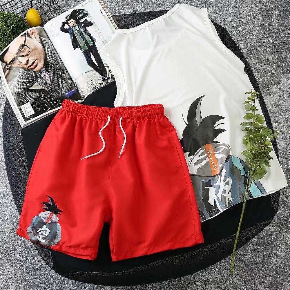 Japanese-style Goku Shorts MEN'S Short Sleeve Shirt Sleeveless Vest Set Dragon Ball Shorts Large Size Loose-Fit Beach Shorts