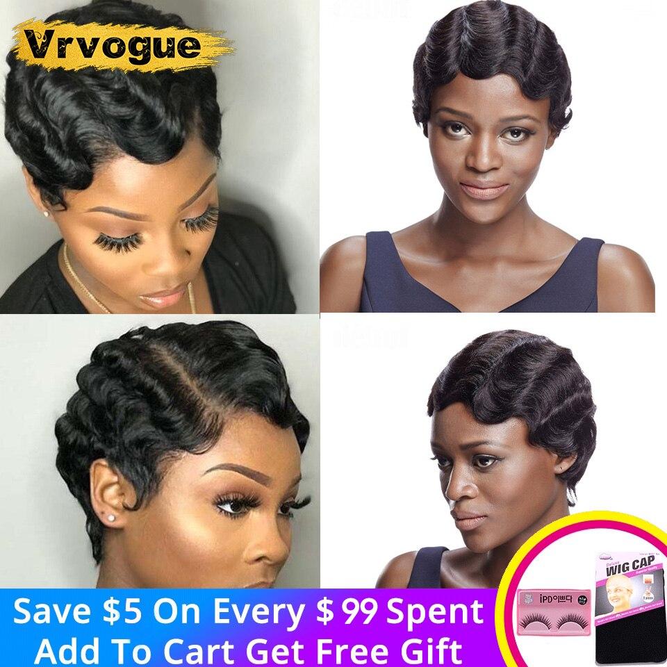Pixie Cut Wig Perruque Cheveux Humain Finger Wave Wig Natural Human Hair Wigs 1/3/5 Pcs 8Inch Short Human Hair Wigs VRVOGUE Hair