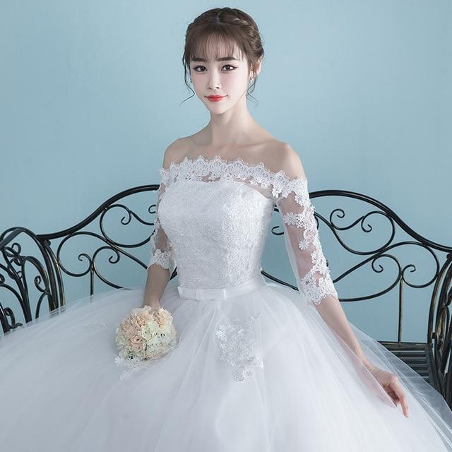 LAMYA Vestidos Boat Neck Bride Married Dress Long Sleeve Simple Large Size Ball Gowns Tulle Wedding Dresses De Novia New Lace up 2