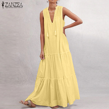 2020 Summer Solid Dress ZANZEA Fashion Party Pleated Sundress Women Casual Short Sleeve Cotton Long Vestidos Female Plus Size