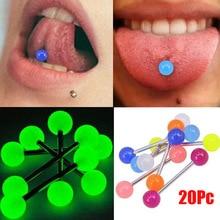 20pcs/lot Plastic Tongue Piercing Barbell Bars Rings Luminous Punk Fashion Body Jewelry For Women